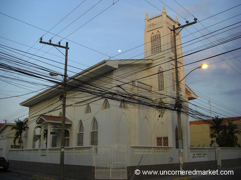 Power Lines and Church - La Cebia, Honduras
