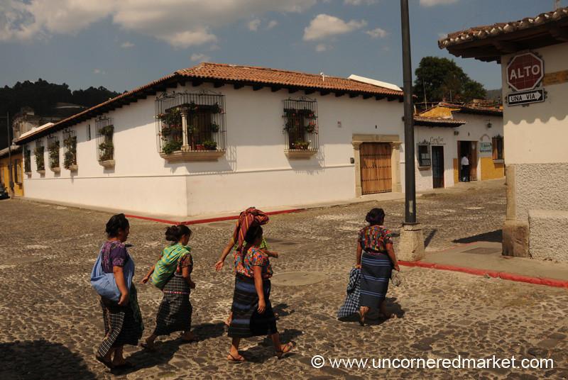 Indigenous Women Crossing the Street - Xela, Guatemala