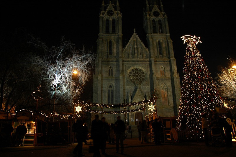 Namesti Miru (Peace Square) Christmas Market - Prague, Czech Republic