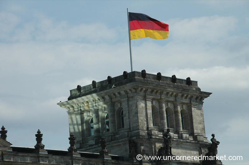 German Flag Flying High - Berlin, Germany