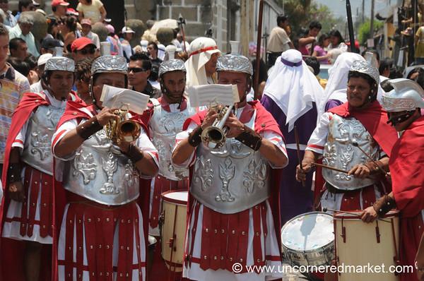 Roman Soldiers Musicians, Semana Santa - Antigua, Guatemala