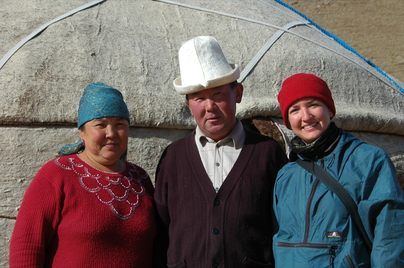 Audrey with Kyrgyz Family - Song Kul Lake, Kyrgyzstan