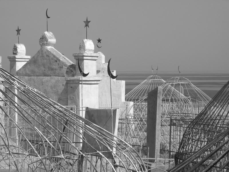 Kyrgyz Cemetery, Funeral Yurts - Manzhyly, Kyrgyzstan