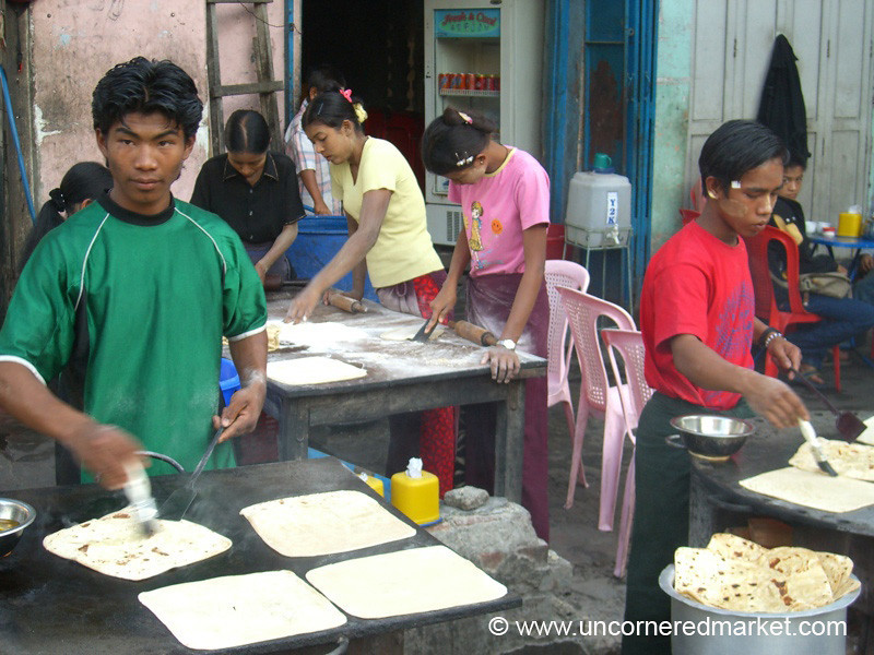 Burmese Food, Making Chapati - Mandalay, Burma