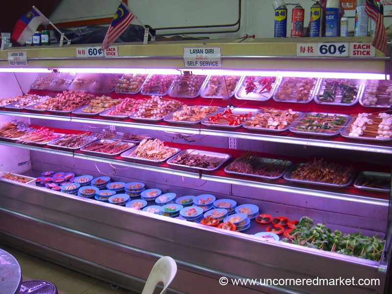Malaysian Food, Skewers for Satay - Melaka, Malaysia