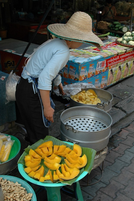 Woman Making Steamed Squash - Chiang Mai, Thailand