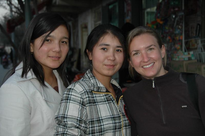 Audrey and Uighur Students - Kashgar, China