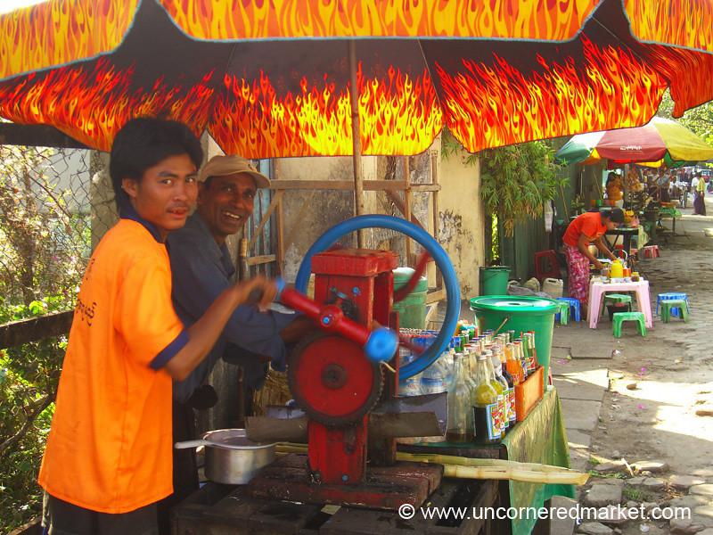 Sugar Cane Juice Vendors - Rangoon, Burma (Yangon, Myanmar)