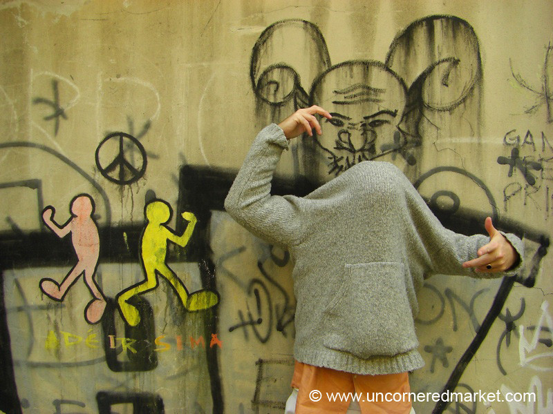 Faceless Friend and Graffiti - Vilnius, Lithuania