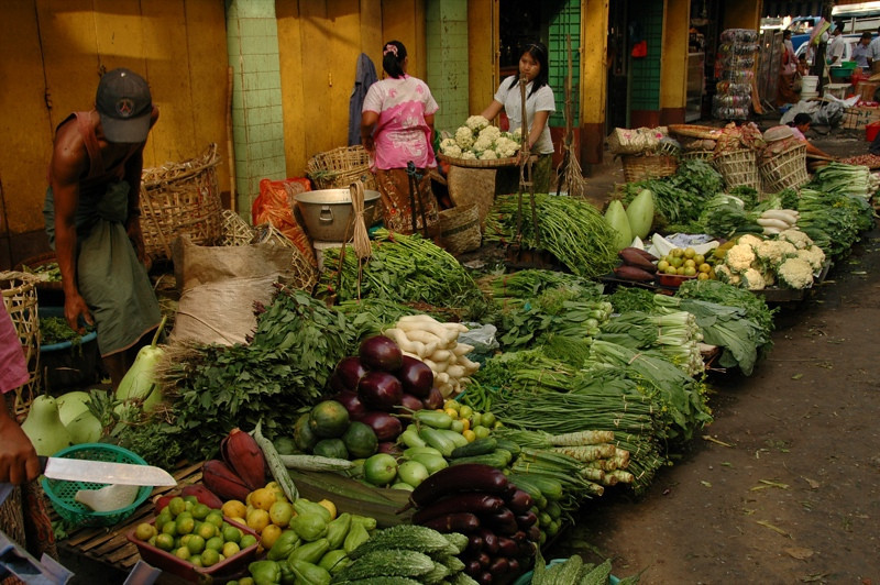 Vegetable Market Street  - Yangon, Myanmar
