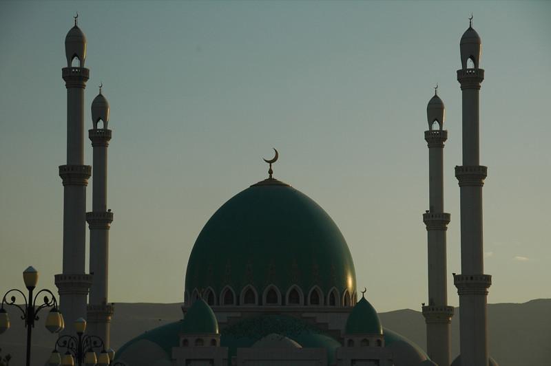 Saparmyrat Hajii Mosque at Dusk - Geok-Depe, Turkmenistan