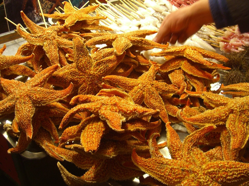 Beijing Street Food, Crunchy Starfish - Beijing, China