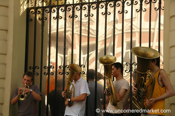 Brass Band on Streets of Vilnius, Lithuania