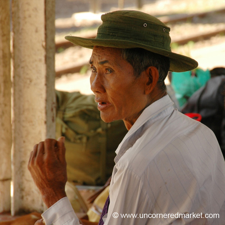 Burmese Man Waiting for Train - Toungoo, Burma