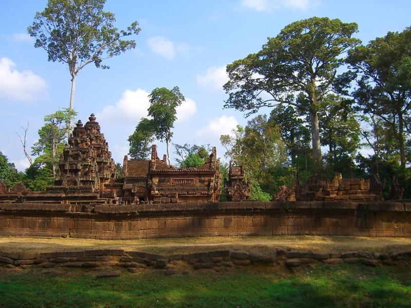 Banteay Srei Temple Amidst Trees - Angkor, Cambodia