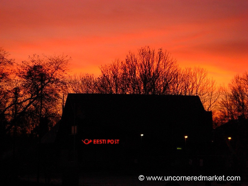Post Office at Sunset - Marjamaa, Estonia