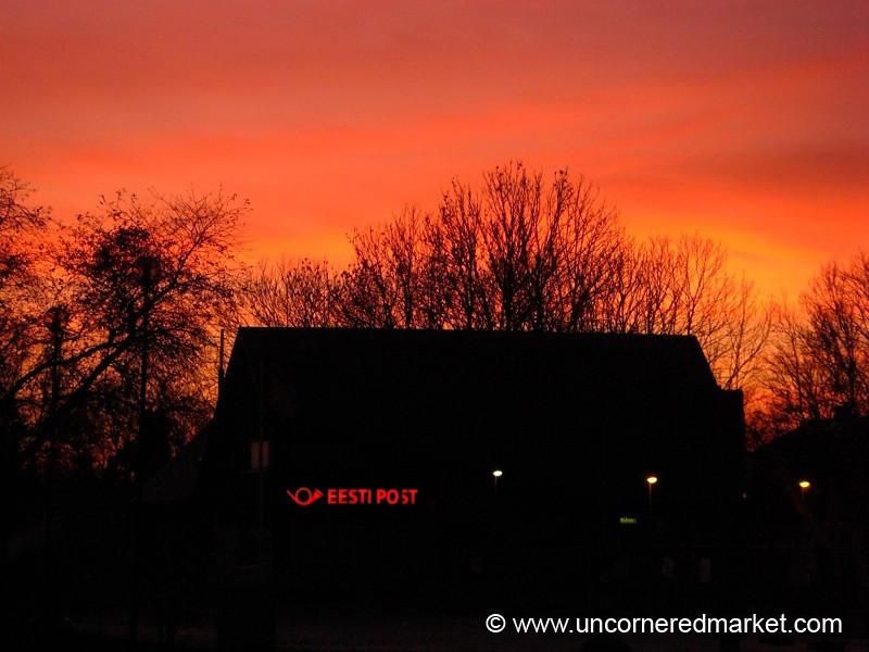 Post Office at Sunset - Marjamaa, Estonia
