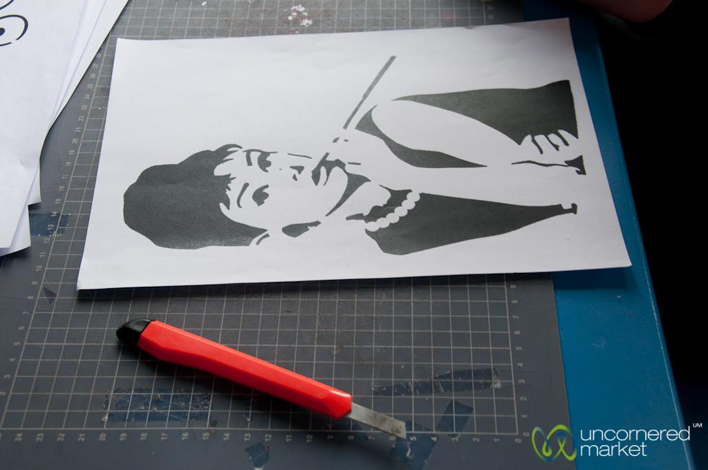 Audrey Hepburn Stencil - Alternative Berlin Street Art Workshop, Berlin