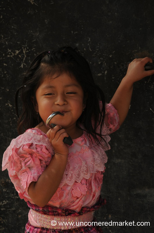 Guatemalan Girl in Pink - San Pedro Sacatepequez, Guatemala