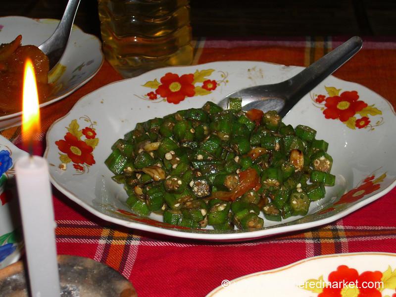 Fried Okra by Candlelight - Inle Lake, Burma