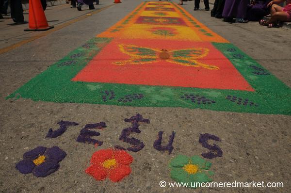 Sawdust Carpet for Semana Santa - Antigua, Guatemala