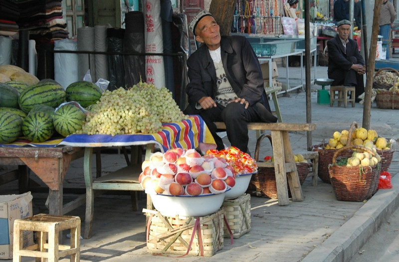 Uighur Fruit Vendor - Kashgar, China