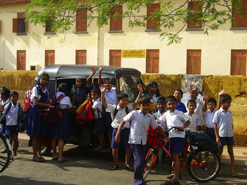 Indian Kids in a Rickshaw - Kerala, India