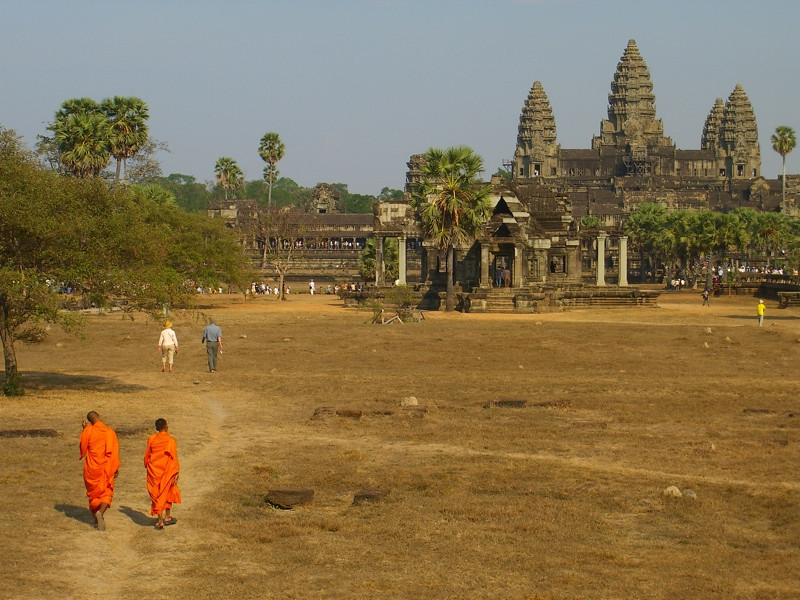 Monks Walking to Angkor Wat - Angkor, Cambodia