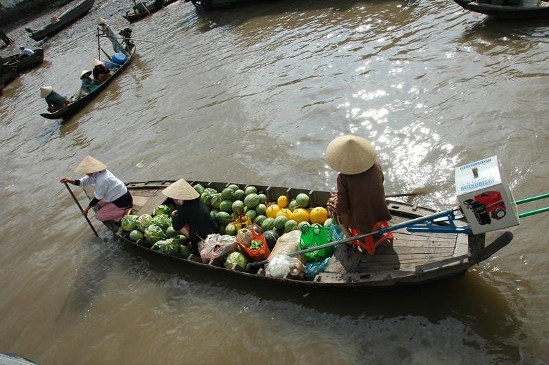Melons at Floating Market - Mekong Delta, Vietnam
