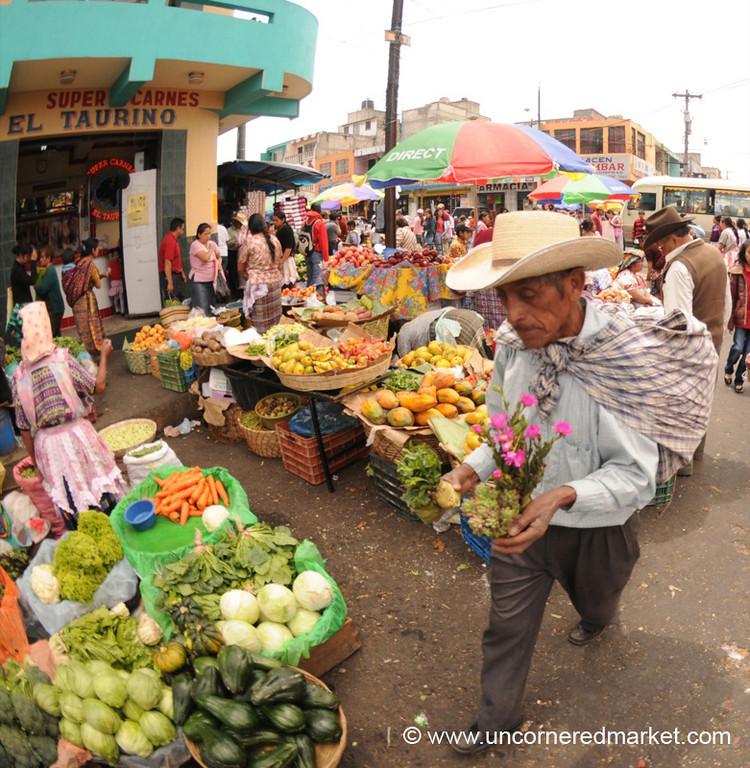 Man Bringing Flowers at Market - Xela, Guatemala
