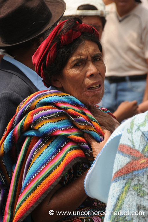 Elderly Woman with Colorful Fabric - Antigua, Guatemala