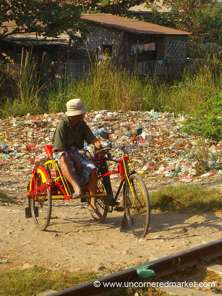 Burmese Man on a Bicycle Trishaw - Mandalay, Burma