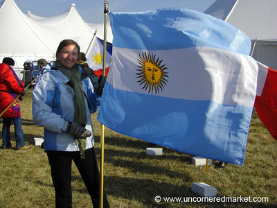 Woman and the Argentinian Flag - Washington DC, USA