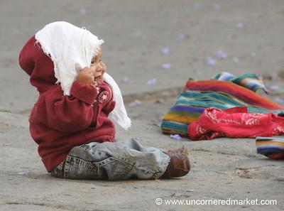 Child Playing Peek-A-Boo - Antigua, Guatemala