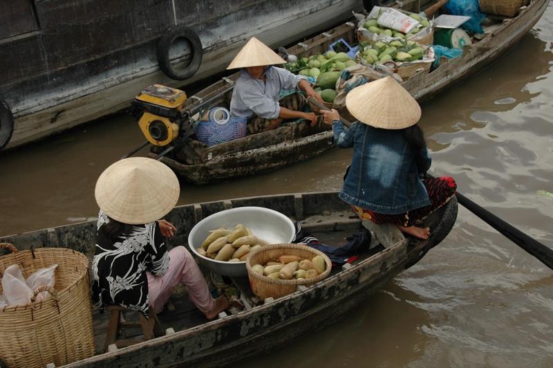 People Chatting at Floating Market - Mekong Delta, Vietnam