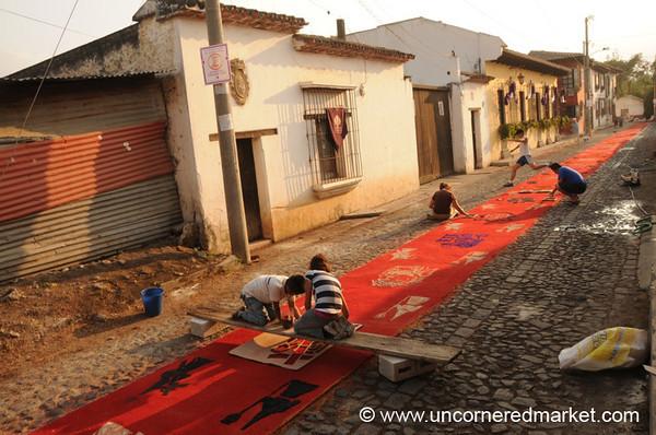 People Preparing Alfombra, Semana Santa - Antigua, Guatemala