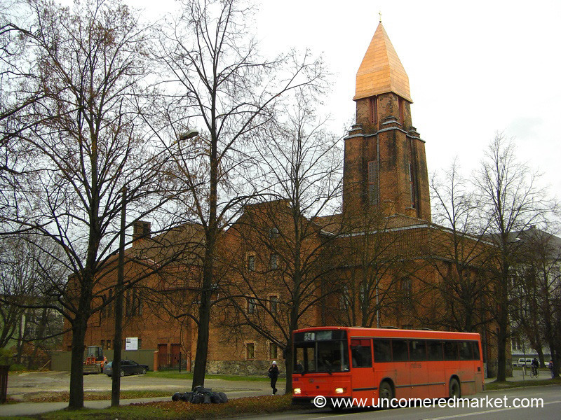 Church and a Red Bus - Tartu, Estonia