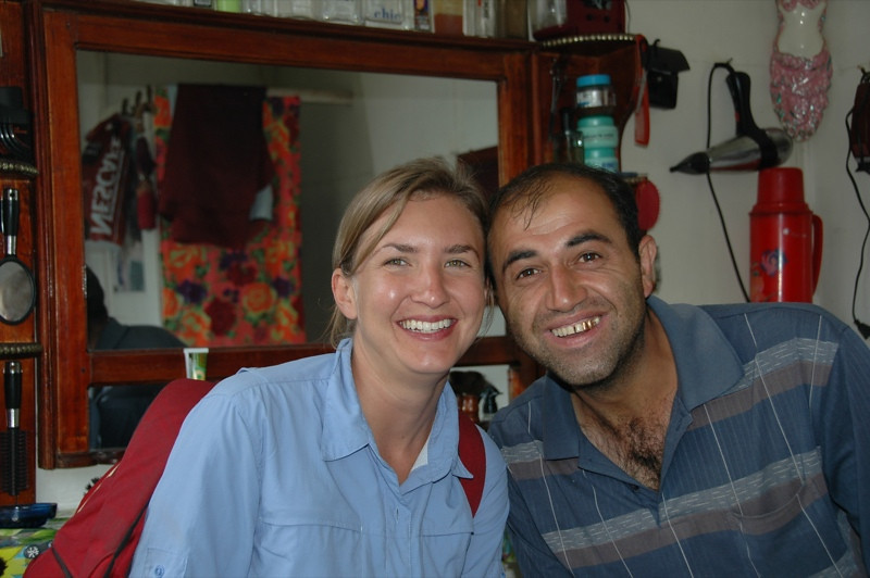 Audrey with a Barber - Lahic, Azerbaijan