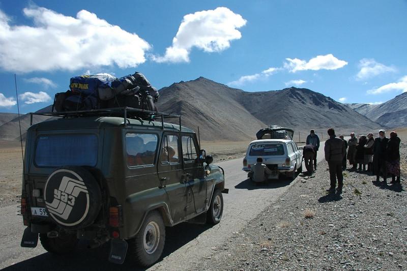 Cars Along Pamir Highway -  Tajikistan