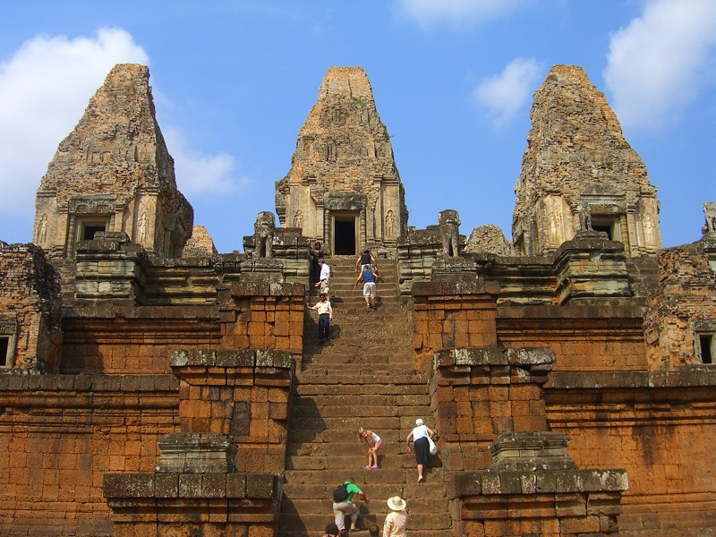 Walking Up the Steps of Pre Rup - Angkor, Cambodia