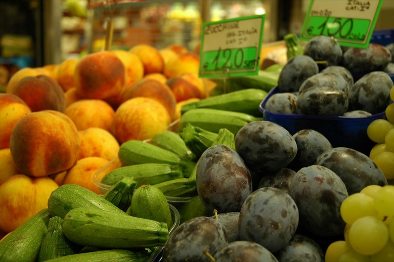 At the Food Market: Fruits and Zucchini - Bologna, Italy