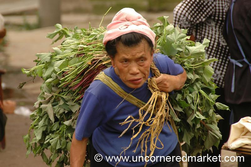 Woman Carrying Heavy Load - Guizhou Province, China
