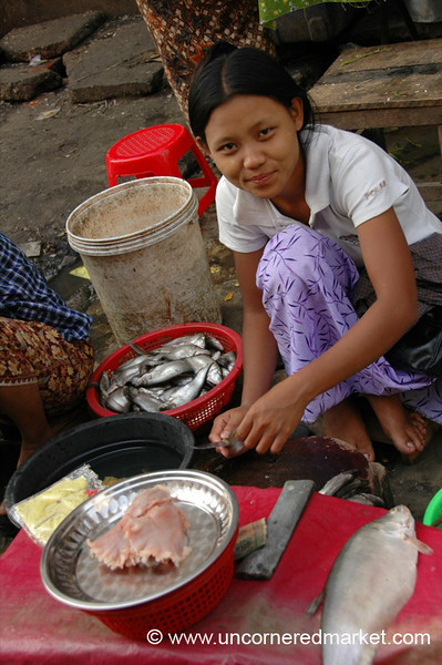 Burmese Woman Cleaning Fish - Rangoon, Burma (Yangon, Myanmar)