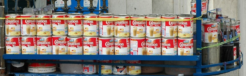 Condensed Milk on a Shelf - Bangkok, Thailand