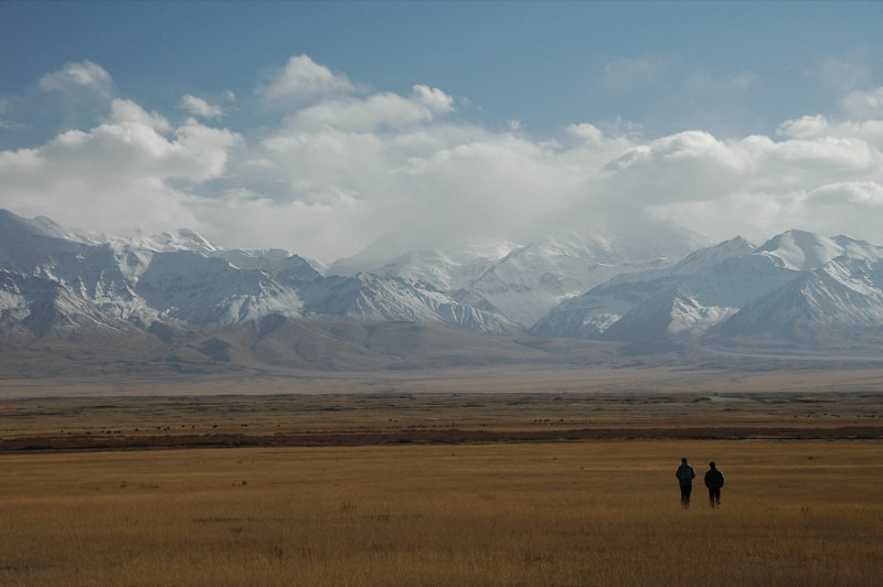 Snow-Capped Mountains, People Walking - Peak Lenin, Kyrgyzstan