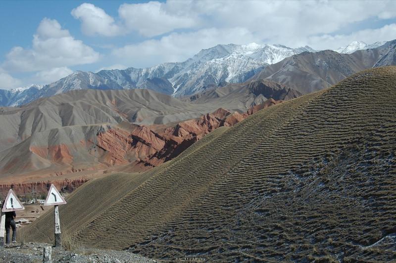 Kyrgyz Road Signs and Mountains - Osh to Sary Tash, Kyrgyzstan