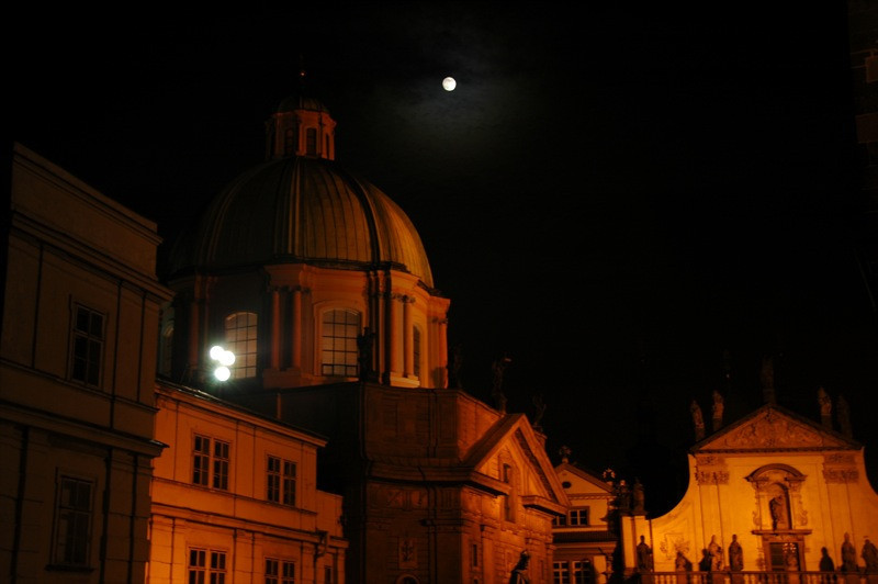 St. Nicholas Church Under a Full Moon - Prague, Czech Republic