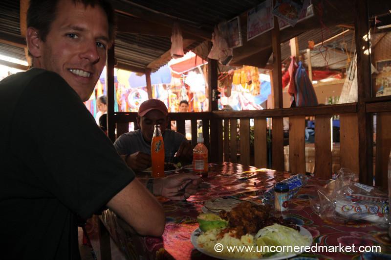 Dan Having Lunch at Market in Copan Ruinas, Honduras