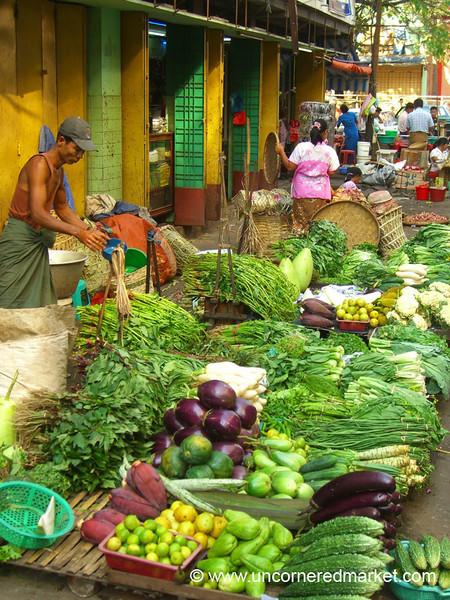 Greens and Vegetables at Market - Rangoon, Burma (Yangon, Myanmar)