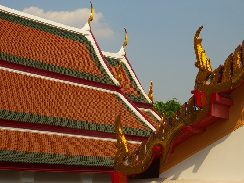 Thai Roof Designs at Wat Arun - Bangkok, Thailand